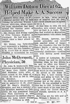 BIll Dotson AA #3 - Obituary 1954 at age 62