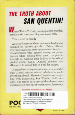 Back Cover of the book: The San Quentin Story by Warden Clinton T. Duffy